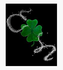 St. Patrick's Day Shamrock with Magical Star Sparkle Photographic Print