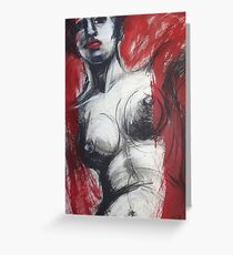 Nude Woman Torso On Red Greeting Card