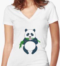 Panda Women's Fitted V-Neck T-Shirt