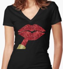 Red Kiss, lipstick on pouty lips, fashion art Women's Fitted V-Neck T-Shirt