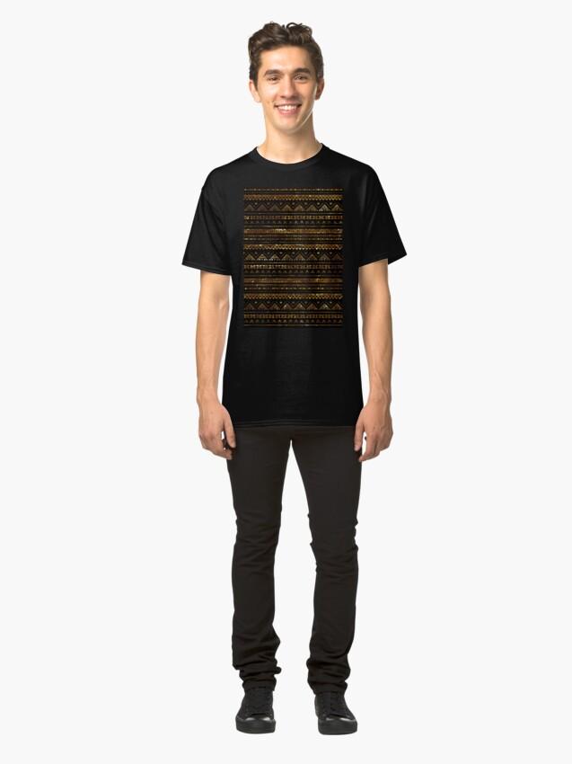 Alternate view of Aztec Black Tinsel Gold Classic T-Shirt
