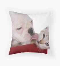 Puppy and Kitten Kisses Throw Pillow