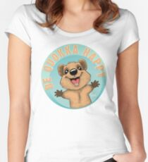 Be Quokka Happy Women's Fitted Scoop T-Shirt