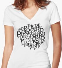 P | Typography (White) Women's Fitted V-Neck T-Shirt