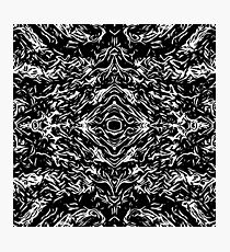 psychedelic graffiti symmetry art abstract in black and white Photographic Print