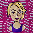 Blondes Mädchen mit magentarotem Muster von Ekaterina Kalmykova