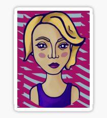 Blonde girl with magenta pattern Sticker