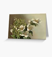 White flowers in brown scale Easter Bridal Greeting Card