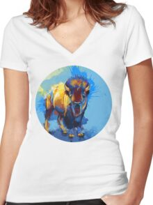 On the Plain - Bison painting Women's Fitted V-Neck T-Shirt