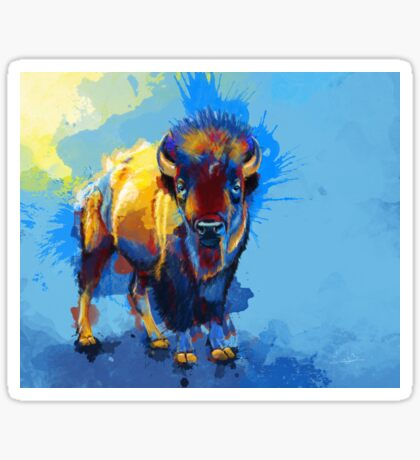 On the Plain - Bison painting Sticker