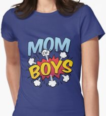 Mom of Boys Mother's Day Comic Book Style Womens Fitted T-Shirt