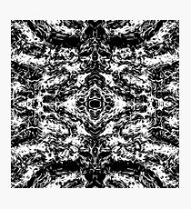 vintage psychedelic graffiti symmetry art abstract in black and white Photographic Print