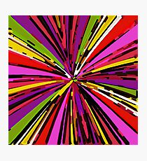 psychedelic geometric graffiti line pattern in pink purple yellow green red Photographic Print