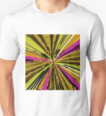 psychedelic geometric graffiti line pattern painting abstract in yellow green brown pink T-Shirt