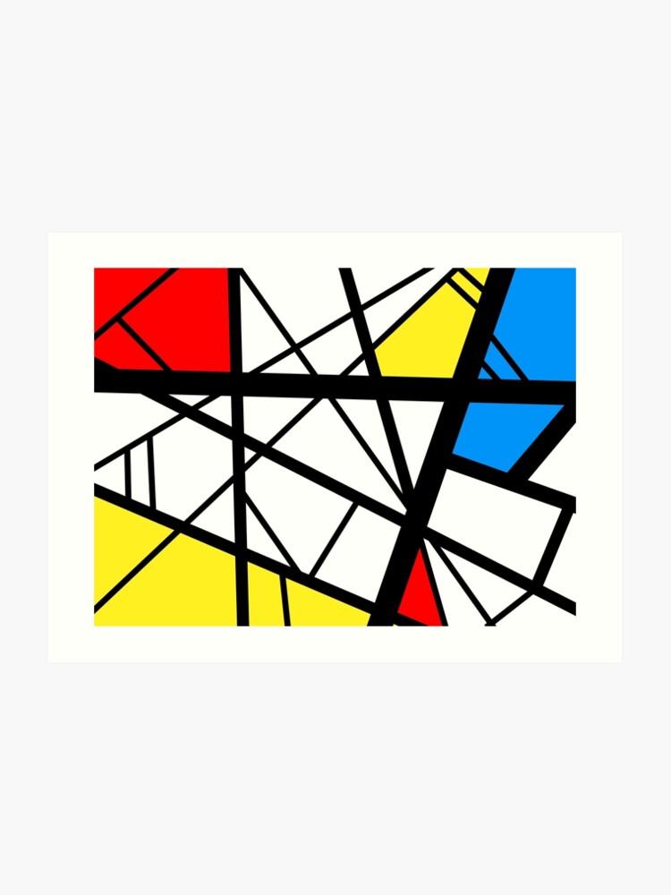 Impact Abstract Black White Red Blue Yellow Art Art Print