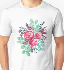 Flower Illustration - Pink Rose Bouquet Unisex T-Shirt