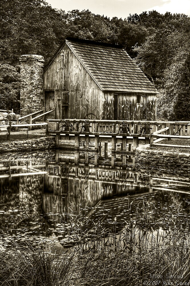 Cabin by the lake - Black & White by Michael Savad