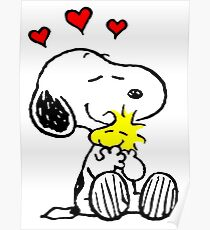 Snoopy Hugging Poster