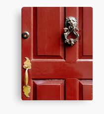 Red door with Lion Knocker Canvas Print