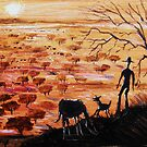 Stockman and dog in Australian outback by Al Benge