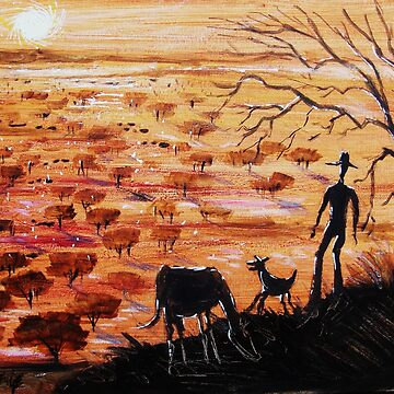 Stockman and dog in Australian outback by MrCreator