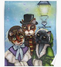 Victorian Christmas Caroling Cats Poster