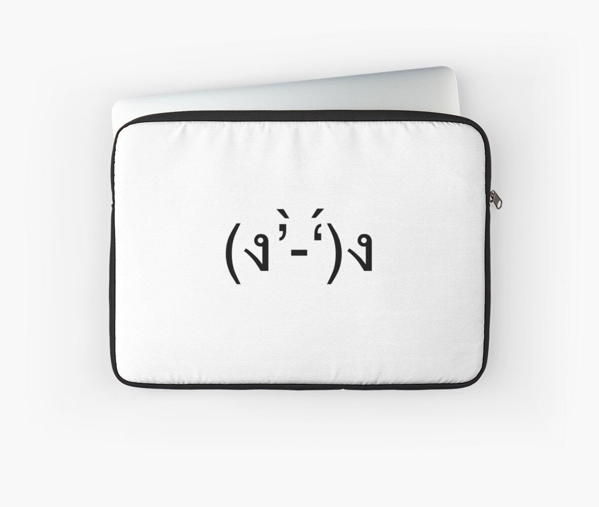 'Japanese Kaomoji - Fight Pose' Laptop Sleeve by kaomojiclassics