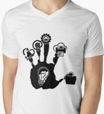 Hand Mens V-Neck T-Shirt