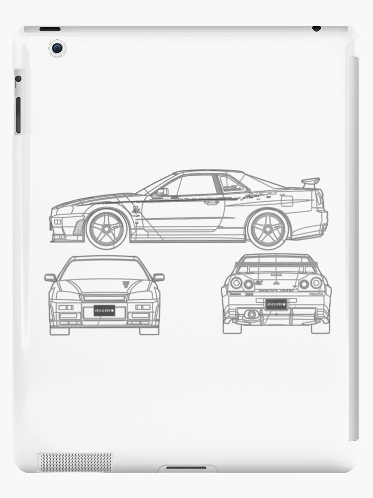 R34 gtr side front back blueprint ipad cases skins by kaanursu r34 gtr side front back blueprint by kaanursu malvernweather Gallery