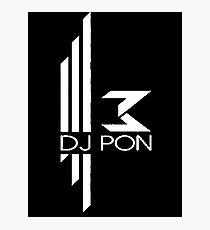 DJ Pon-3: White Logo Photographic Print