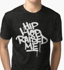 Hip Hop Raised Me White Spray Paint Tri-blend T-Shirt