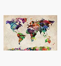 World Map Urban Watercolor Photographic Print