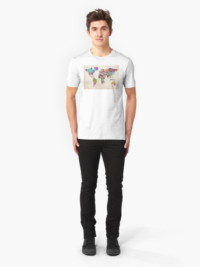 Alternative Ansicht von Typografie Text Karte der Weltkarte Slim Fit T-Shirt