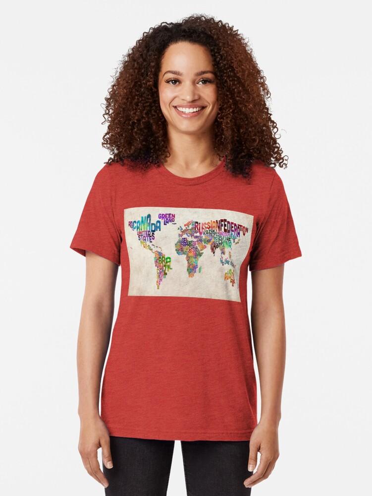 Alternative Ansicht von Typografie Text Karte der Weltkarte Vintage T-Shirt