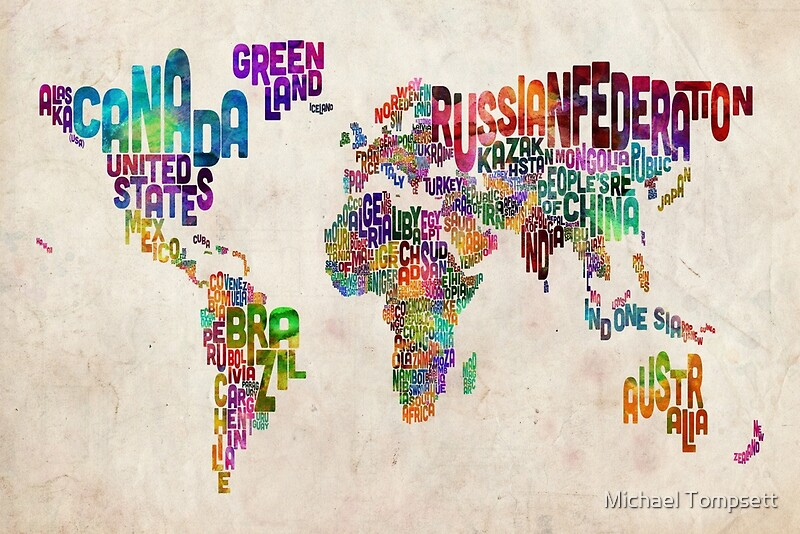 Typography text map of the world map canvas prints by michael typography text map of the world map by michael tompsett gumiabroncs Choice Image