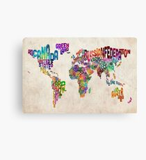 Typography Text Map of the World Map Canvas Print