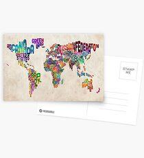 Typografie Text Karte der Weltkarte Postkarten