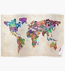 Póster Tipografía texto Mapa del mapa mundial