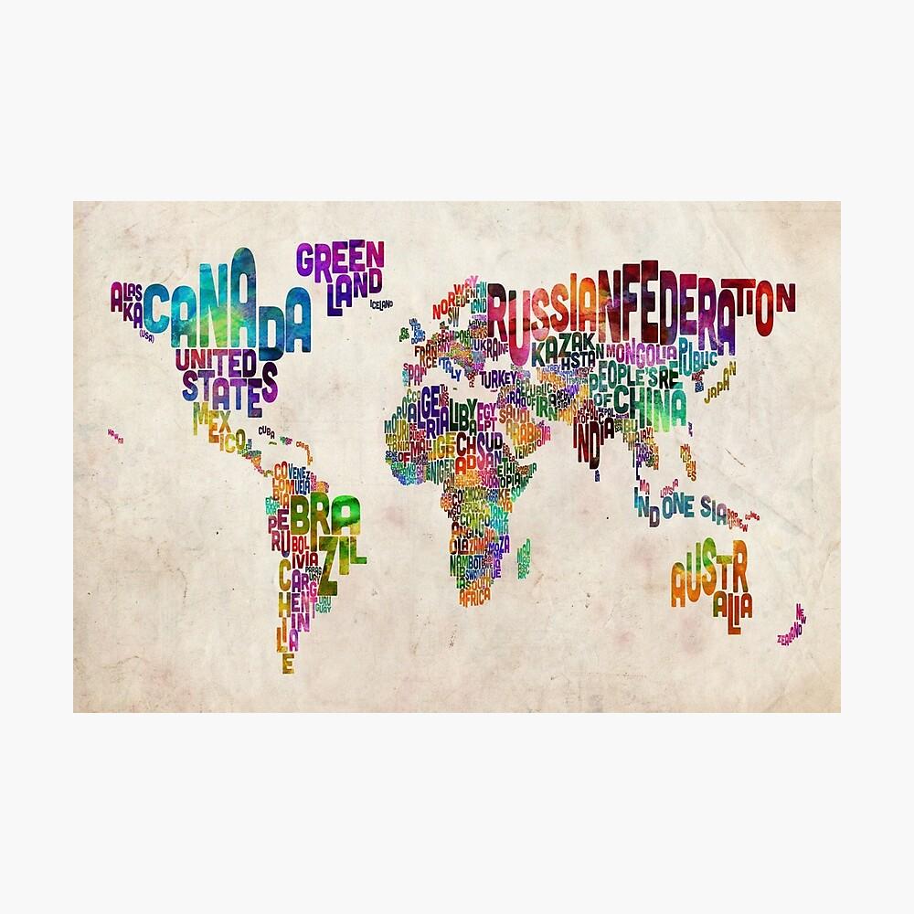 Typografie Text Karte der Weltkarte Fotodruck