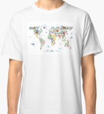 Animal Map of the World for children and kids Classic T-Shirt