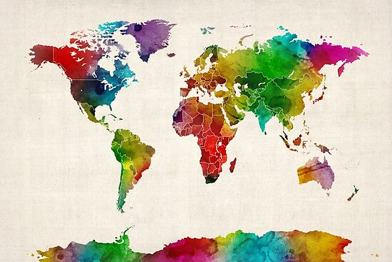 Watercolor map of the world map posters by michael tompsett redbubble watercolor map of the world map by michael tompsett gumiabroncs Images