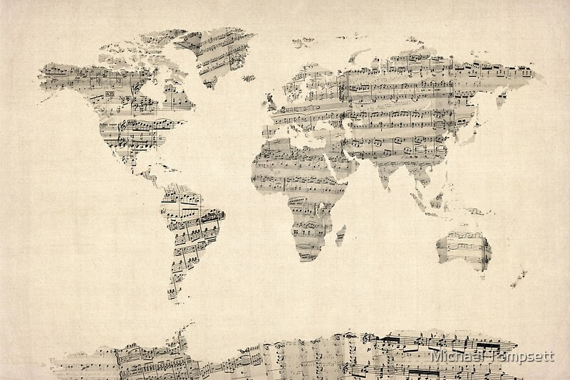 Map of the world map from old sheet music canvas prints by map of the world map from old sheet music by michael tompsett gumiabroncs Images