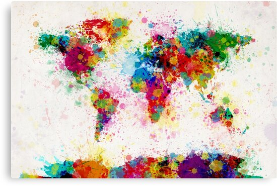 World map paint splashes canvas prints by michael tompsett redbubble world map paint splashes by michael tompsett gumiabroncs Choice Image