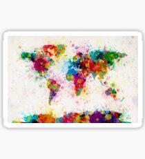 World Map Paint Splashes Sticker