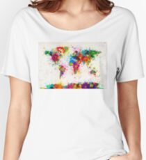 World Map Paint Splashes Women's Relaxed Fit T-Shirt