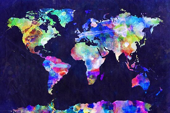 World map urban watercolor posters by michael tompsett redbubble world map urban watercolor by michael tompsett gumiabroncs Images