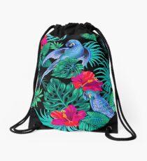 blue macaw parrots.  Drawstring Bag