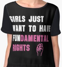 Cyndi Lauper's Official Girls Just Want to Have Fundamental Rights Shirt Women's Chiffon Top