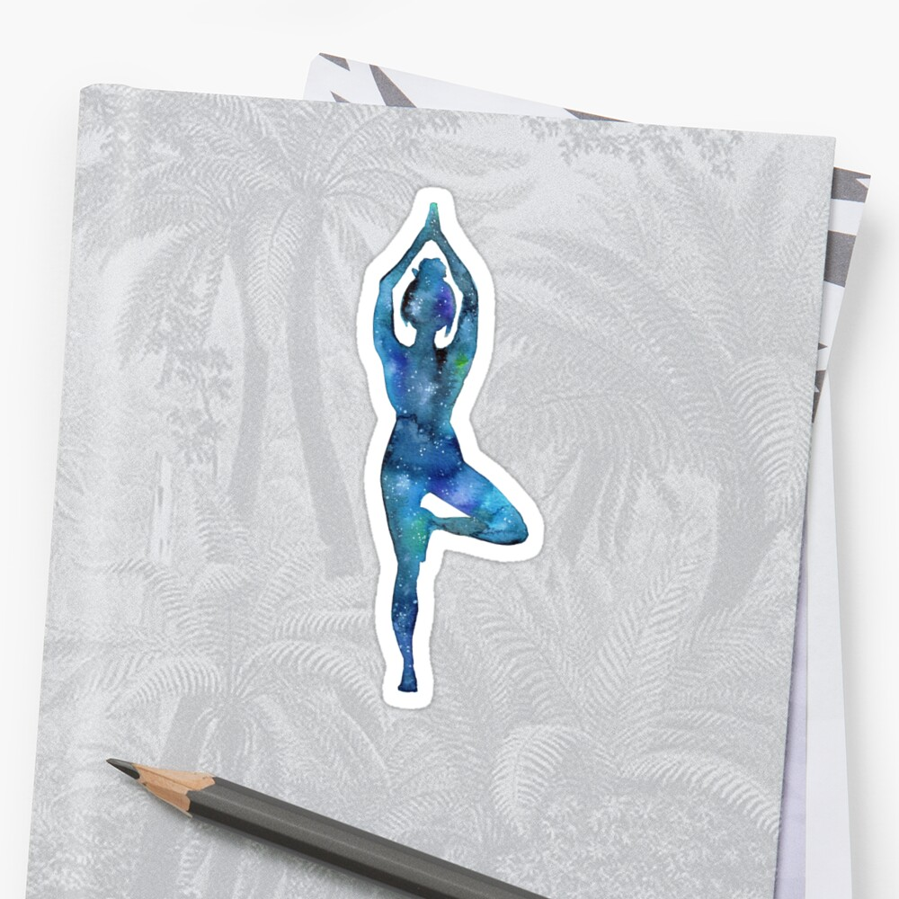 Tree pose - yoga galaxy by balgrittella