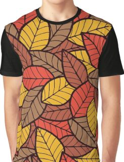 Leafs Seamless Pattern Autumn Graphic T-Shirt